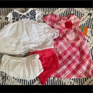 So sweet!! 2 tiny dresses with diaper covers